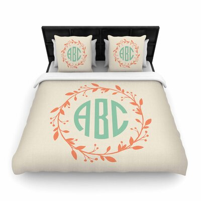 Classic Wreath Monogram Typography Woven Duvet Cover Size: King