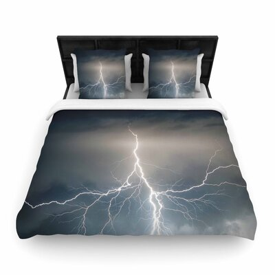 Lightning Storm Woven Duvet Cover Size: Twin