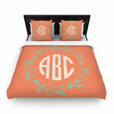 Classic Wreath Monogram Illustration Woven Duvet Cover Size: King