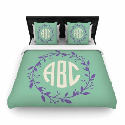 Classic Wreath Monogram Digital Woven Duvet Cover Size: Full/Queen