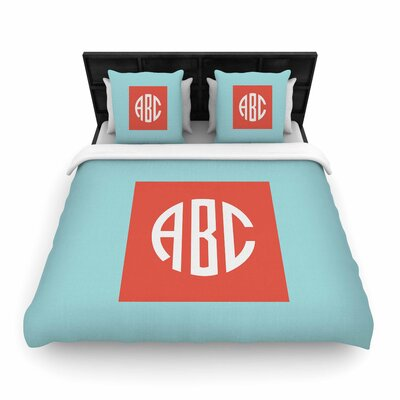 Classic Monogram Typography Woven Duvet Cover Size: Full/Queen
