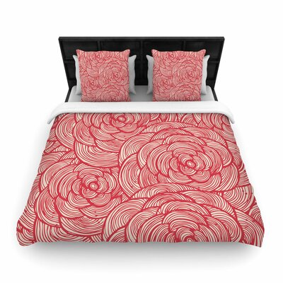 Roses Woven Duvet Cover Size: Full/Queen