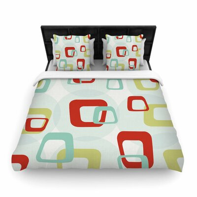 Squares Woven Duvet Cover Size: Twin