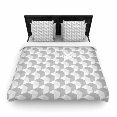 Greyscale Cubed Geometric Woven Duvet Cover Size: King