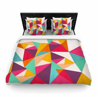 Kathleen Kelly Diamond Geometric Woven Duvet Cover Size: King
