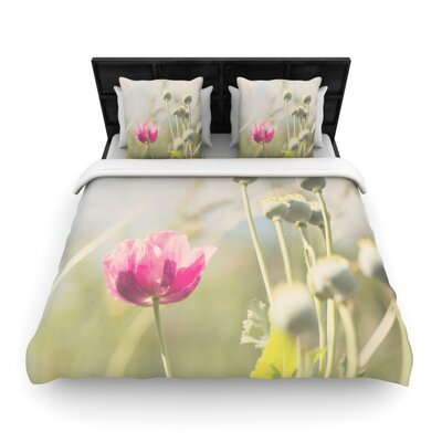 Laura Evans Looking up Flower Woven Duvet Cover Size: Twin