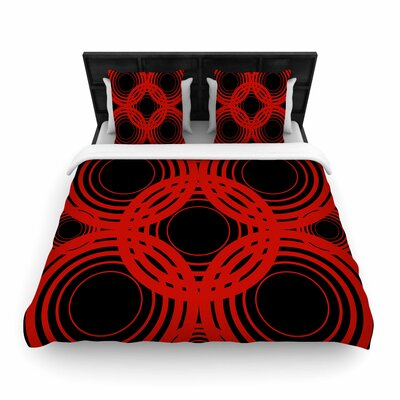 Kathryn Pledger Mono Geo Geometric Woven Duvet Cover Color: Red/Black, Size: Twin
