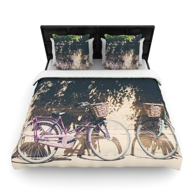 Laura Evans Pretty Bicycles Woven Duvet Cover Size: King