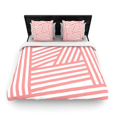 Louise Machado Rose Stripes Woven Duvet Cover Size: Full/Queen