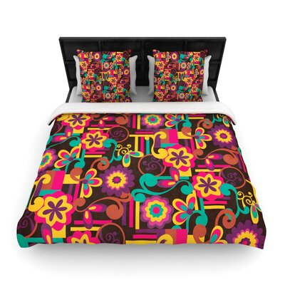 Louise Machado Arabesque Floral Bright Woven Duvet Cover Size: Twin