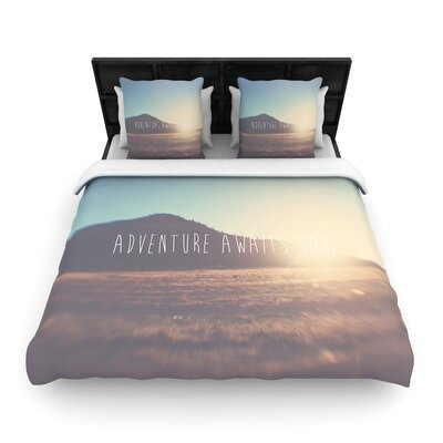 Laura Evans Adventure Awaits You Coastal Typography Woven Duvet Cover Size: King