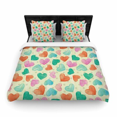 Louise Machado Hearts Woven Duvet Cover Size: Twin