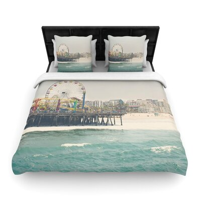 Laura Evans the Pier at Santa Monica Coastal Woven Duvet Cover Size: Full/Queen