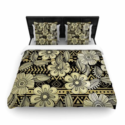 Louise Machado Ink Floral Woven Duvet Cover