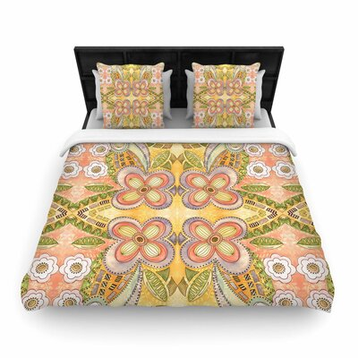 Louise Machado Ethnic Floral Illustration Woven Duvet Cover Size: Full/Queen