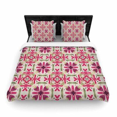Laura Nicholson Echinacea Garden Geometric Woven Duvet Cover Size: Full/Queen