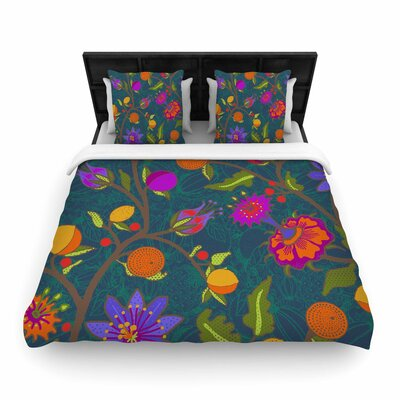 Laura Nicholson Flora Exotica Floral Woven Duvet Cover Size: Full/Queen