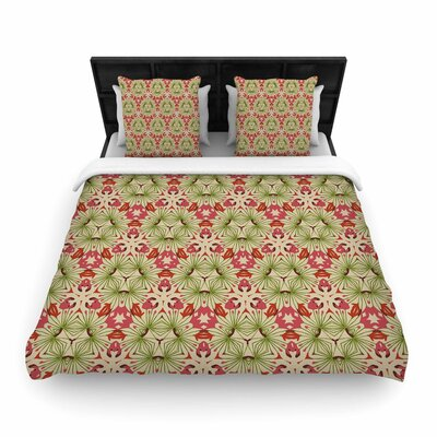 Laura Nicholson Thalia Floral Abstract Woven Duvet Cover Size: King