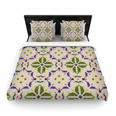 Laura Nicholson Kissing Budgies Geometric Woven Duvet Cover Size: Full/Queen