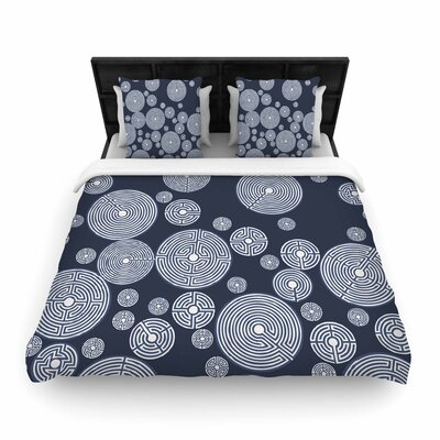 Laura Nicholson Labyrinths Woven Duvet Cover Size: King