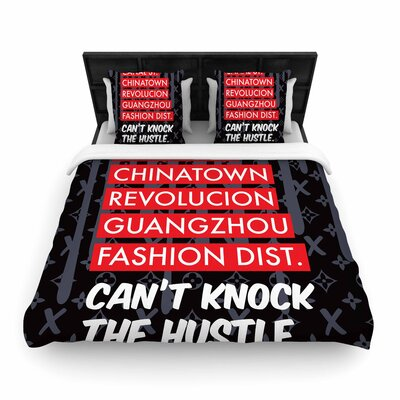 Just L Cant Knock the Hustle Urban Woven Duvet Cover Color: Black, Size: Full/Queen