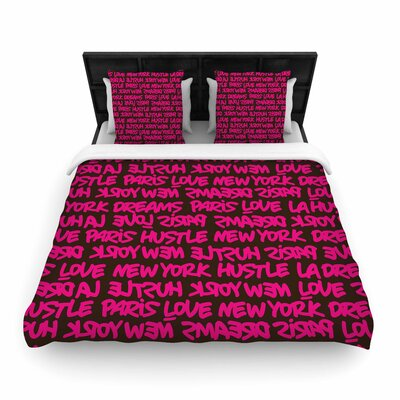 Just L Lux Writing Brn Typography Urban Woven Duvet Cover Size: Twin