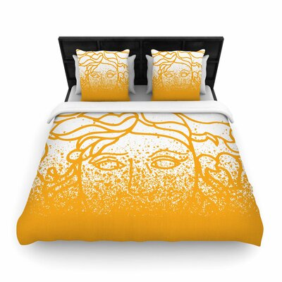 Just L Versus Spray Woven Duvet Cover Color: Gold, Size: Full/Queen