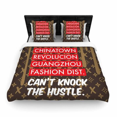 Just L Cant Knock the Hustle Brn Urban Woven Duvet Cover Size: Full/Queen