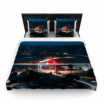 Just L Chasing Lights Woven Duvet Cover Size: King