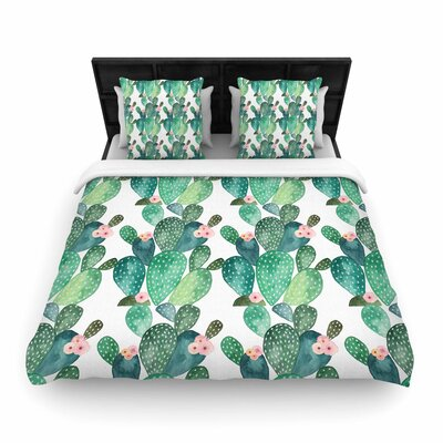 Li Zamperini Cactus Woven Duvet Cover Size: Full/Queen