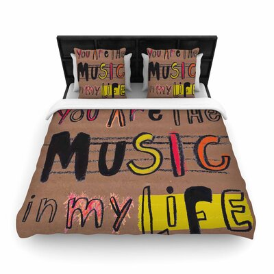 MaJoBV Music in My Life Quote Woven Duvet Cover Size: Full/Queen