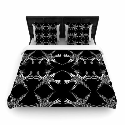 Maria Bazarova Snowflakes Illustration Woven Duvet Cover Size: Twin