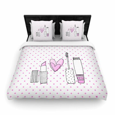 MaJoBV Girls Luv Makeup Woven Duvet Cover Size: King