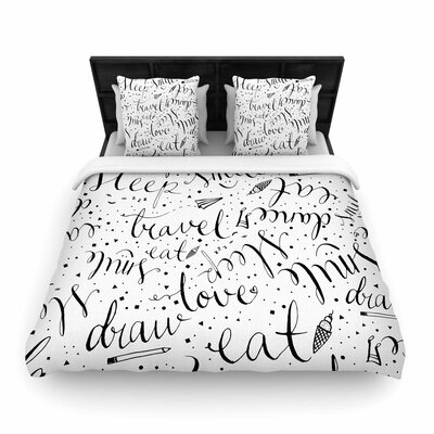 MaJoBV Life Must-dos Woven Duvet Cover Size: Full/Queen