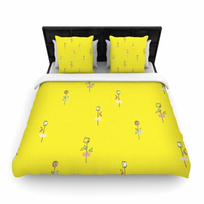 MaJoBV Rosewall Floral Pattern Woven Duvet Cover Color: Yellow, Size: Twin