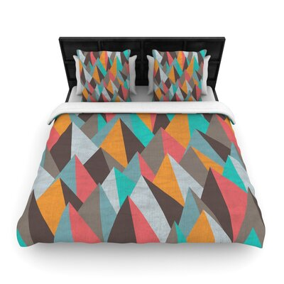 Michelle Drew Mountain Peaks Pastel Geometric Woven Duvet Cover Color: Orange/Teal, Size: King
