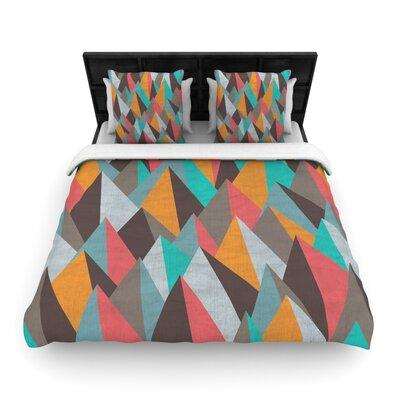 Michelle Drew Mountain Peaks Pastel Geometric Woven Duvet Cover Color: Orange/Teal, Size: Full/Queen