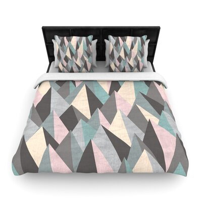 Michelle Drew Mountain Peaks Pastel Geometric Woven Duvet Cover Color: Pastel, Size: King
