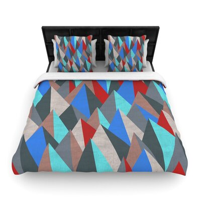 Michelle Drew Mountain Peaks Pastel Geometric Woven Duvet Cover Color: Blue/Red, Size: King