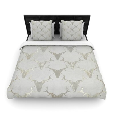 Michelle Drew Gilded Stags Woven Duvet Cover Size: King