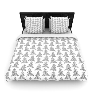 Michelle Drew Herringbone Forest Woven Duvet Cover Color: Black, Size: Full/Queen