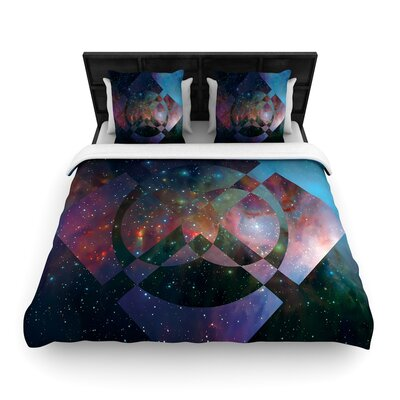 Matt Eklund Galactic Radiance Woven Duvet Cover Color: Blue/Purple, Size: Full/Queen