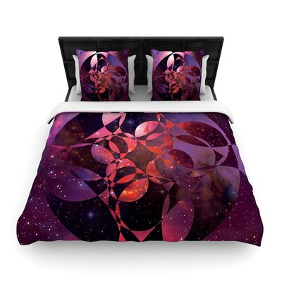 Matt Eklund Galactic Brilliance Geometric Woven Duvet Cover Color: Magenta