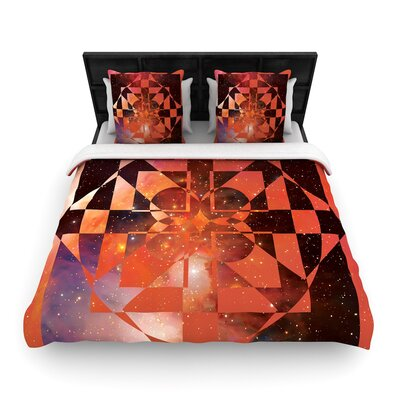 Matt Eklund Galactic Hope Woven Duvet Cover Size: Twin, Color: Bittersweet