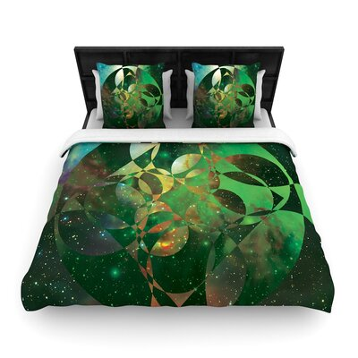 Matt Eklund Galactic Brilliance Geometric Woven Duvet Cover Color: Green, Size: Full/Queen