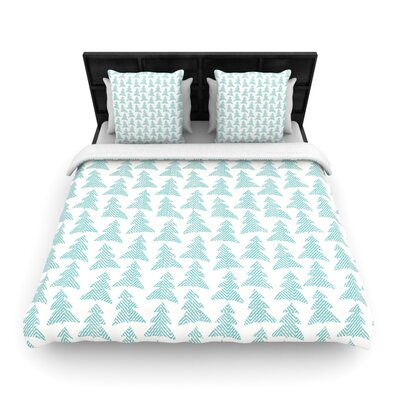Michelle Drew Herringbone Forest Woven Duvet Cover Size: King, Color: Teal