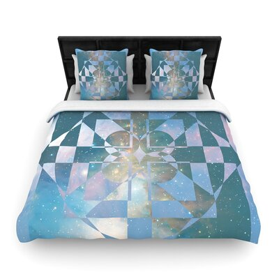 Matt Eklund Galactic Hope Woven Duvet Cover Size: Twin, Color: Aqua/Blue
