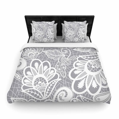 Petit Griffin Lace Flower Woven Duvet Cover Size: Full/Queen