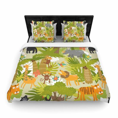 Petit Griffin Roar of the Jungle Animals Woven Duvet Cover Size: Twin