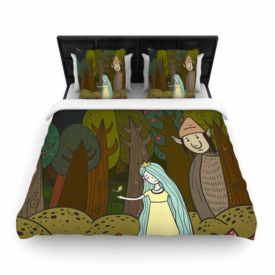 Petit Griffin Enchanted Forest Woven Duvet Cover Size: Full/Queen